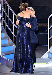 Emma Willis greets Sally Morgan after she leaves the house after finishing in fifth place during the live final of Celebrity Big Brother at Elstree Studios, Hertfordshire.