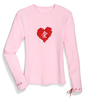 japanese character love in a red heart on a pink long sleeve t-shirt