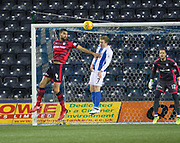 13th February 2018, Rugby Park, Kilmarnock, Scotland; Scottish Premiership football, Kilmarnock versus Dundee; Steven Caulker of Dundee and Rory McKenzie of Kilmarnock