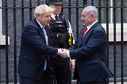 © Licensed to London News Pictures. 05/09/2019. London, UK. Israeli prime minister, Benjamin Netanyahu meets British Prime Minister Boris Johnson at No.10 Downing St for a meeting. Photo credit: Ray Tang/LNP