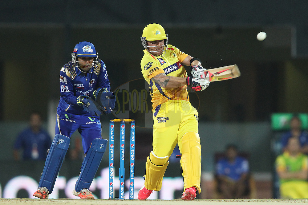 Brendon McCullum of Chennai Super Kings pulls a delivery and is caught by Hardik Pandya of Mumbai Indians on the boundary during match 43 of the Pepsi IPL 2015 (Indian Premier League) between The Chennai Super Kings and The Mumbai Indians held at the M. A. Chidambaram Stadium, Chennai Stadium in Chennai, India on the 8th May April 2015.<br /> <br /> Photo by:  Shaun Roy / SPORTZPICS / IPL