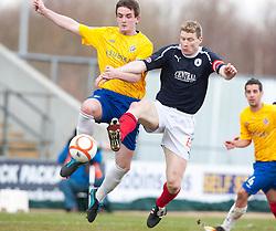 Cowdenbeath's John Armstrong and Falkirk's Darren Dods..half time : Falkirk 0 v 0 Cowdenbeath, 6/4/2013..©Michael Schofield..