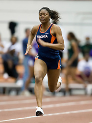 Galyn Iloka (Virginia) in the women's 55m dash.  Day 1 of the Virginia Tech Invitational Track and Field meet was held at the Rector Field House on the campus of Virginia Tech in Blacksburg, VA on January 11, 2008.