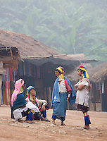 Four women from the Padaung long neck hill tribe talking to one another in a small village near Tha Ton, Chiang Mai Province, Thailand