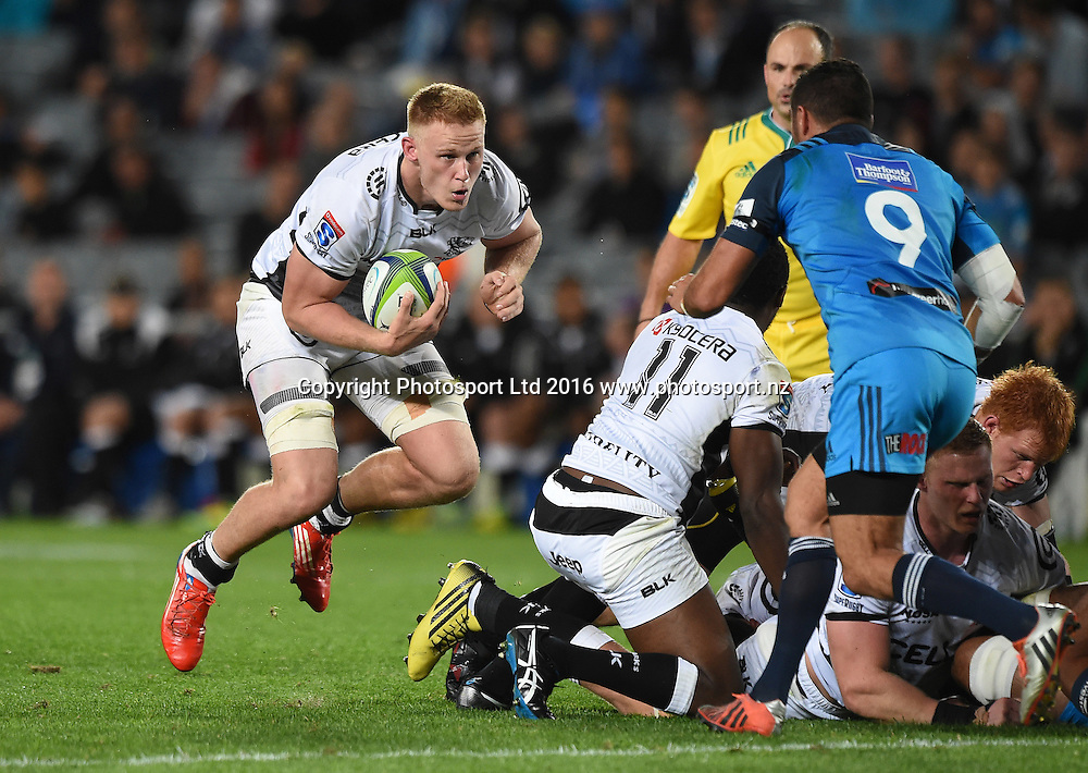 Daniel Du Preez during the Blues v Sharks Super Rugby match at Eden Park in Auckland, New Zealand. Saturday 16 April 2016. Copyright Photo: Andrew Cornaga / www.Photosport.nz