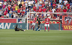 August 5, 2018 - Harrison, New Jersey, United States - Diego Rossi (9) of LAFC misses shot during regular MLS game against Red Bulls at Red Bull Arena Red Bulls won 2 - 1 (Credit Image: © Lev Radin/Pacific Press via ZUMA Wire)