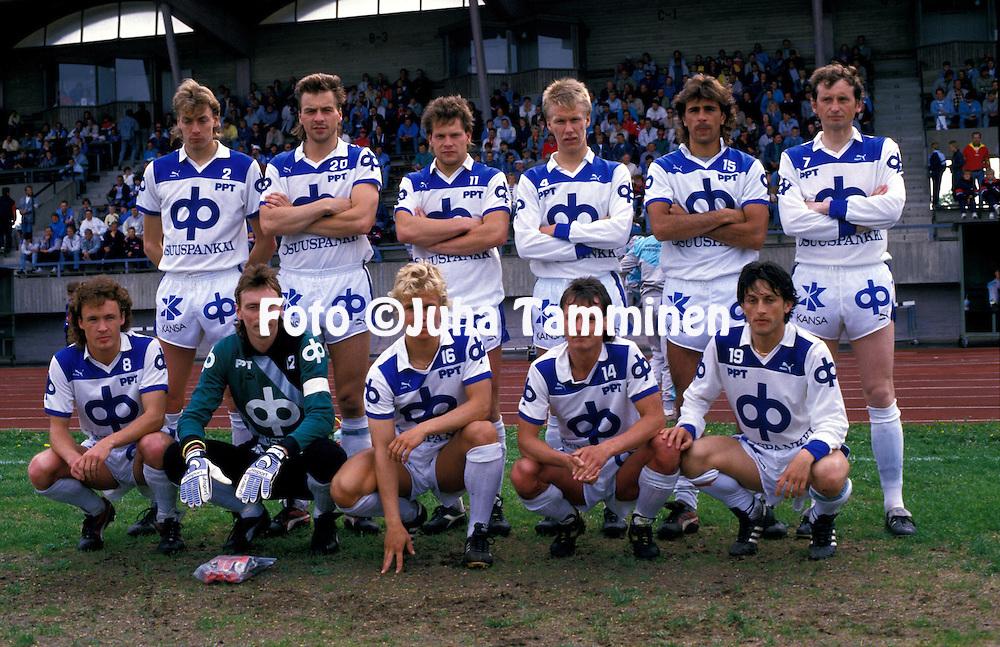 05.06.1988, Pori, Finland..SM-sarja / Finnish League, Porin Pallo-Toverit v RoPS..PPT, back row, left to right: Pasi Sulonen, Vesa Salmela, Olli Ceder, Vesa Rantanen, Jorma Heinonen, Juri Gavrilov. .Front row, l to r: Ari Suonp??, Seppo Lehtikangas, Janne Suokonautio, Seppo Sulonen, N?stor Alfonso..©Juha Tamminen