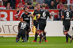 05.10.2013, BayArena, Leverkusen, GER, 1. FBL, Bayer 04 Leverkusen vs FC Bayern Muenchen, 8. Runde, im Bild Torjubel nach dem 1:1 von Sidney Sam #18 (Bayer 04 Leverkusen). Im Bild: Sidney Sam #18 (Bayer 04 Leverkusen), Simon Rolfes #6 (Bayer 04 Leverkusen) und Lars Bender #8 (Bayer 04 Leverkusen) // during the German Bundesliga 8th round match between Bayer 04 Leverkusen and FC Bayern Munich at the BayArena, Leverkusen, Germany on 2013/10/05. EXPA Pictures © 2013, PhotoCredit: EXPA/ Eibner/ Grimme<br /> <br /> ***** ATTENTION - OUT OF GER *****