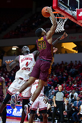 NORMAL, IL - January 19: Jalon Pipkins gets past Abdou Ndiaye for a lay up during a college basketball game between the ISU Redbirds and the Loyola University Chicago Ramblers on January 19 2020 at Redbird Arena in Normal, IL. (Photo by Alan Look)