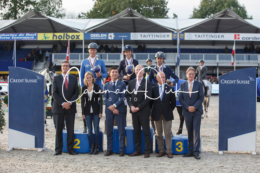 Podium 7 Years, Allen Bertram (IRL), Ahlmann Christian (GER), Arvidsson Niklas (SWE)<br /> Final 7 years<br /> FEI World Breeding Jumping Championships for Young Horses - Lanaken 2014<br /> © Dirk Caremans