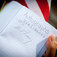 TAMPA, FL -- November 29, 2011 -- Republican Presidential candidate Gov. Mitt Romney signature is seen in a child's autograph book at the Port of Tampa during a campaign stop in Tampa, Fla., on Tuesday, November 29, 2011.  (PHOTO / CHIP LITHERLAND)