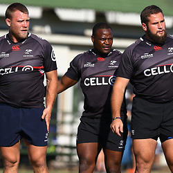 Ross Geldenhuys with Chiliboy Ralepelle and Thomas du Toit during The Cell C Sharks training session at Growthpoint Kings Park in Durban, South Africa 25th July 2017 (Photo by Steve Haag)<br /> <br /> images for social media must have consent from Steve Haag
