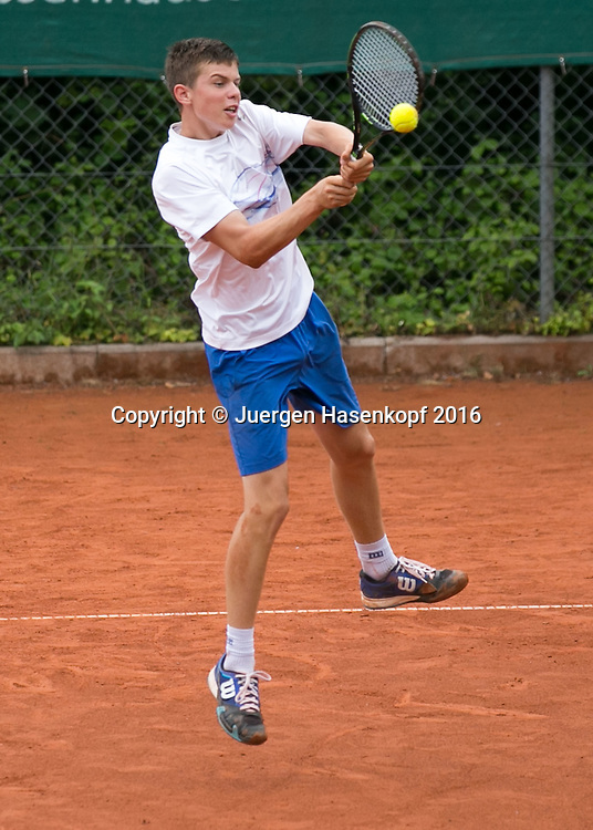 Tennis Europe-Bavarian Junior Open, Leon Formella  (GER)  BS14<br /> <br /> Tennis - Bavarian Junior Open 2016 - Tennis Europe Junior Tour -  SC Eching - Eching - Bayern - Germany  - 9 August 2016. <br /> &copy; Juergen Hasenkopf