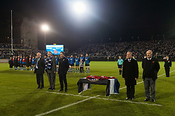 A general view of the pre-match ceremony to mark Remembrance Day weekend - Mandatory byline: Patrick Khachfe/JMP - 07966 386802 - 10/11/2017 - RUGBY UNION - The Recreation Ground - Bath, England - Bath Rugby v Leicester Tigers - Anglo-Welsh Cup