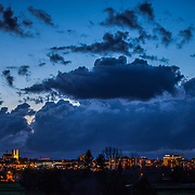 Guelph skyline at dusk. Photo by Mido Melebari