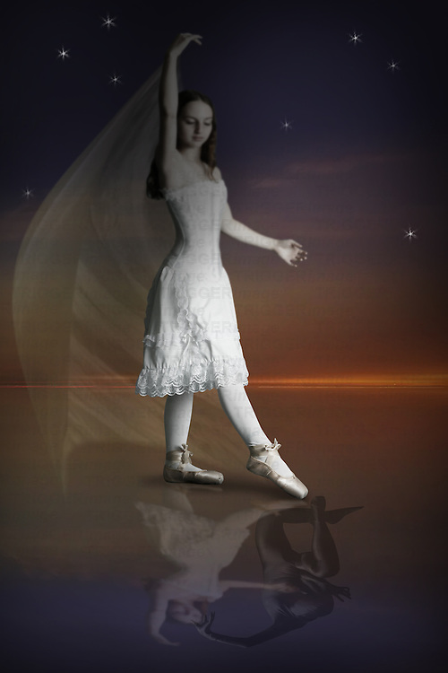 Girl dancing with her reflection and another