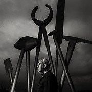 Former miner John Shallow who was a miner wrongly convicted during the strike.  At a sculpture commemorating miners near his home in Shotts. Picture Robert Perry for The Sunday Herald 15th Sept  2016