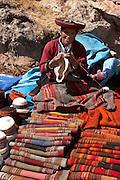 Woman sewing at Sunday market  Chinchero, Peru