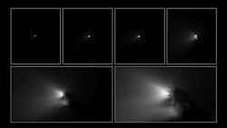 OUTER SPACE -- 14 Mar 2016 -- On the night of 13–14 March 1986, ESA's Giotto spacecraft flew to within a mere 596 km of Halley's Comet - revealing for the first time how a cometary nucleus looks up close. This montage features six images from the historic flyby, with the first one (top left) taken about three hours before closest approach, from a distance of 766 371 km, and the last (bottom right) taken only 27 s before closest approach, 1917 km from the nucleus. As Giotto closed in the images showed an extremely dark potato-shaped object of 15 x 7.2 x 7.2 km. The comet is also known as 1P/Halley, where 1P marks it as the first comet to be identified as periodic. It was Edmond Halley who recognised that comets observed in 1531, 1607 and 1682 had remarkably similar orbital properties and suggested that they might just be the same object, regularly returning to our skies. EXPA Pictures © 2016, PhotoCredit: EXPA/ Photoshot/ Atlas Photo Archive/ESA<br /> <br /> *****ATTENTION - for AUT, SLO, CRO, SRB, BIH, MAZ, SUI only*****