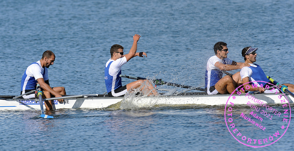 (L-R) (BOW) IOANNIS TSAMIS AND (2L) STERGIOS PAPACHRISTOS AND (3L) GEORGIOS TZIALLAS AND (STROKE) PAVLOS GAVRILIDIS (ALL GREECE) CELEBRATE THEIR GOLD MEDAL IN THE MEN'S FOUR FINAL A DURING REGATTA EUROPEAN ROWING CHAMPIONSHIPS IN BREST, BELARUS...BREST , BELARUS , SEPTEMBER 20, 2009..( PHOTO BY ADAM NURKIEWICZ / MEDIASPORT )..PICTURE ALSO AVAIBLE IN RAW OR TIFF FORMAT ON SPECIAL REQUEST.