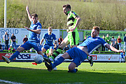 Forest Green Rovers forward Christian Doidge (9) attempts a shot at goal 0-0 during the Vanarama National League match between Forest Green Rovers and North Ferriby United at the New Lawn, Forest Green, United Kingdom on 1 April 2017. Photo by Alan Franklin.