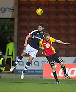 Dundee&rsquo;s Kostadin Gadzhalov out jumps Partick Thistle's Chris Erskine - Partick Thistle v Dundee in the Ladbrokes Scottish Premiership at Firhill, Glasgow - Photo: David Young, <br /> <br />  - &copy; David Young - www.davidyoungphoto.co.uk - email: davidyoungphoto@gmail.com