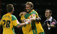 Photo: Paul Thomas.<br /> Rotherham United v Norwich City. Carling Cup. 19/09/2006.<br /> ]<br /> Ryan Jarvis (R) of Norwich celebrates his second goal with Dickson Ethuhu and Michael Spillane (28).