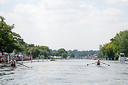 "Henley on Thames, United Kingdom, 3rd July 2018, Sunday,  ""Henley Royal Regatta"", The Diamond Challenge Sculls, Finalists, (Left) Mahe DRYSDALE NZL M1X,  (Right) Kjetil BORCH NOR M1X,progress along the course,    View, Henley Reach, River Thames, Thames Valley, England, UK."