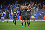 Bolton Wanderers defender David Wheater (31) and Bolton Wanderers defender Jonathan Grounds (29) clap the fans after the EFL Sky Bet Championship match between Ipswich Town and Bolton Wanderers at Portman Road, Ipswich, England on 22 September 2018.
