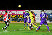 James McKeown (1) of Grimsby Town clears the ball during the EFL Sky Bet League 2 match between Exeter City and Grimsby Town FC at St James' Park, Exeter, England on 29 December 2018.
