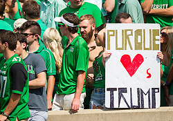 Sep 6, 2015; Huntington, WV, USA; A Marshall Thundering Herd fan holds up a sign during the first quarter against the Purdue Boilermakers at Joan C. Edwards Stadium. Mandatory Credit: Ben Queen-USA TODAY Sports