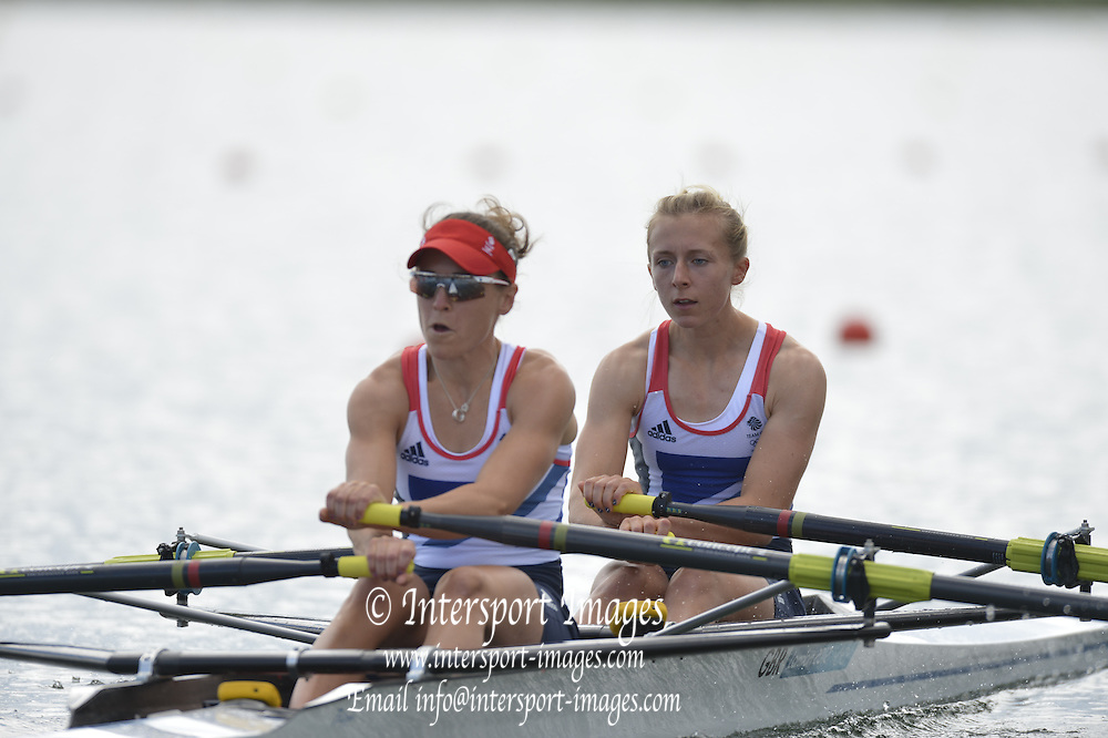 Eton Dorney, Windsor, Great Britain,..2012 London Olympic Regatta, Dorney Lake. Eton Rowing Centre, Berkshire[ Rowing]...Description; GBR LW2X, Bow Kat COPELAND and Sophie HOSKING,  start their heat of the Lightweight Women's Double Sculls.  Dorney Lake  [Mandatory Credit: Peter Spurrier/Intersport Images]. 29/07/2012