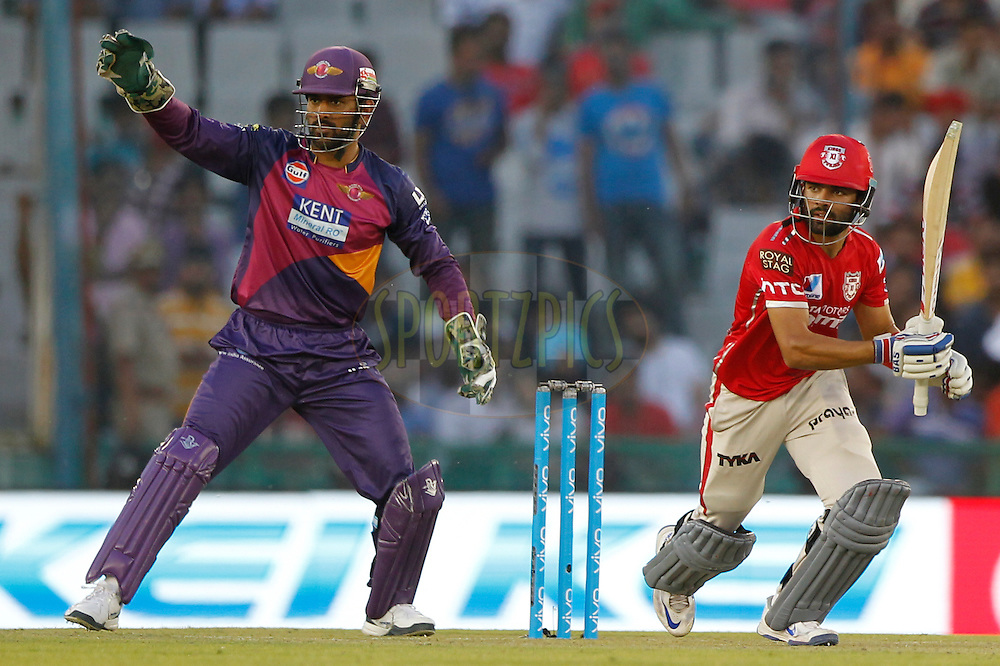 Manan Vohra of Kings XI Punjab during match 10 of the Vivo Indian Premier League ( IPL ) 2016 between the Kings XI Punjab and the Rising Pune Supergiants held at the IS Bindra Stadium, Mohali, India on the 17th April 2016<br /> <br /> Photo by Deepak Malik/ IPL/ SPORTZPICS