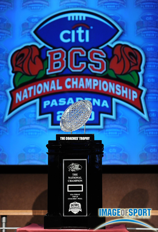 Jan 2, 2010; Anaheim, CA, USA; The BCS National Champion Coaches Trophy at the press conference for the 2010 BCS National Championship game between the Alabama Crimson Tide and Texas Longhorns at the ESPN Zone at Downtown Disney.