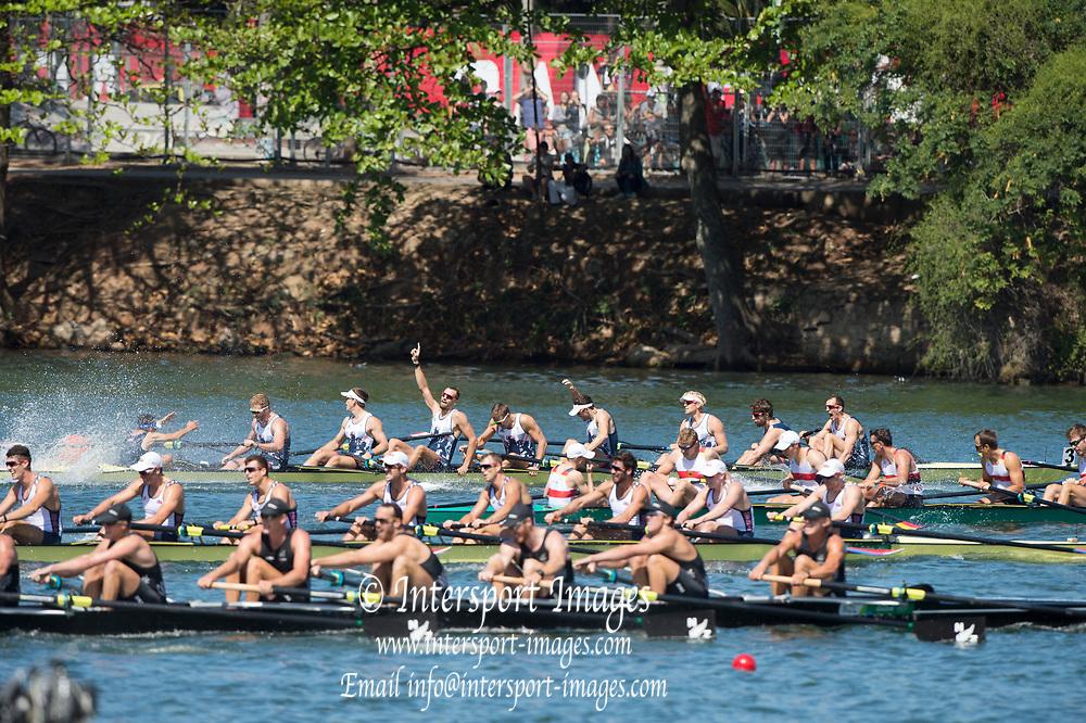 Rio de Janeiro. BRAZIL. GBR M8+. Winning and celebrating winning the Final. Bow. Scott DURANT, Tom RANSLEY, Andrew TRIGGS HODGE, Matt GOTREL, Pete REED, Paul. BENNETT, Matt LANGRIDGE, William  SATCH,  and Cox. Phelan HILL. 2016 Olympic Rowing Regatta. Lagoa Stadium,<br /> Copacabana,  &ldquo;Olympic Summer Games&rdquo;<br /> Rodrigo de Freitas Lagoon, Lagoa.   Saturday  13/08/2016 <br /> <br /> [Mandatory Credit; Peter SPURRIER/Intersport Images]