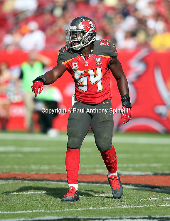 Tampa Bay Buccaneers outside linebacker Lavonte David (54) points as he yells out during the 2015 week 14 regular season NFL football game against the New Orleans Saints on Sunday, Dec. 13, 2015 in Tampa, Fla. The Saints won the game 24-17. (©Paul Anthony Spinelli)