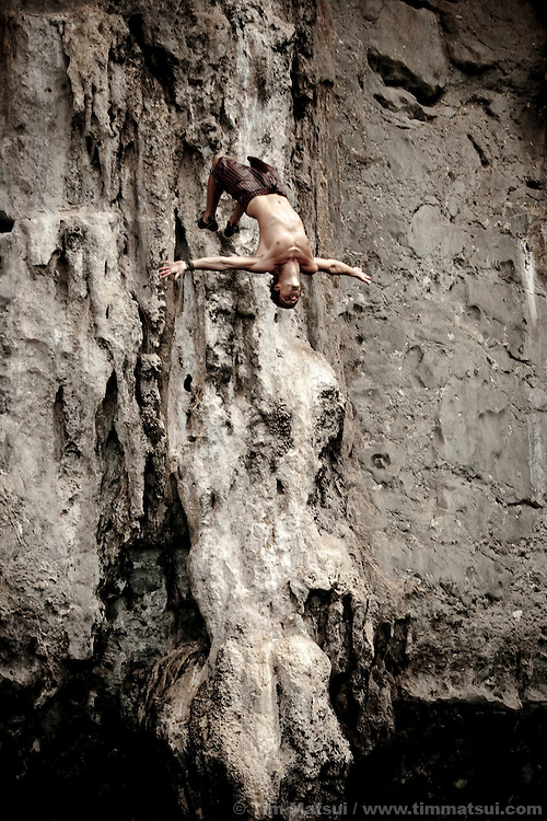 Cliff diving near Tonsai, Thailand.