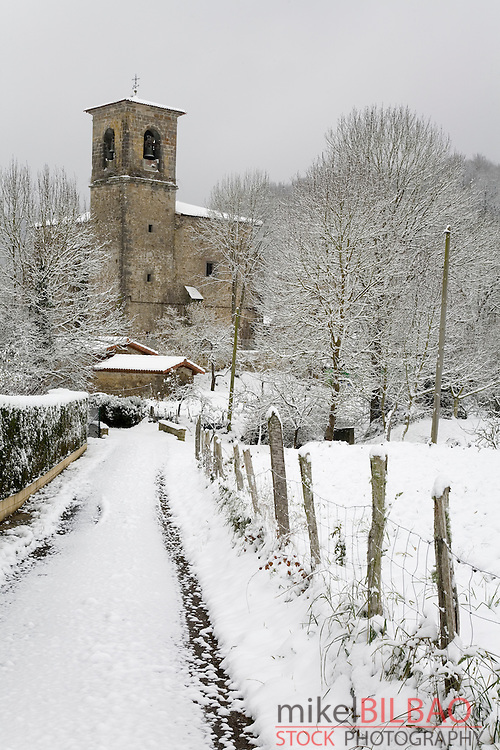 Snow covered landscape in winter.<br /> Zuia, Alava, Basque Country, Spain, Europe.