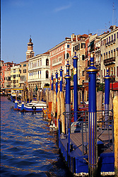 Venice, Italy:  Palazzos and gondolas line the Grand Canal, in the vicinity of the Rialto Bridge.