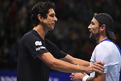 November 13, 2017 - London, England, United Kingdom - Lukasz Kubot (R) of Poland and Marcelo Melo of Brazil celebrates victory in the Doubles match against Ivan Dodig of Croatia and Marcel Granollers of Spain during day two of the Nitto ATP World Tour Finals at O2 Arena, London on November 13, 2017. (Credit Image: © Alberto Pezzali/NurPhoto via ZUMA Press)