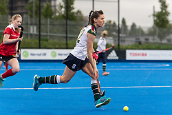 Surbiton's Holly Payne. Holcombe v Surbiton - Investec Women's Hockey League Final, Lee Valley Hockey & Tennis Centre, London, UK on 29 April 2018. Photo: Simon Parker