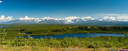 View of the Amphitheater Mountains and Sevenmile Lake (foreground) east of Paxson, Alaska, along the Denali Highway.