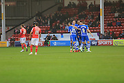 Ian Henderson celebrations during the Sky Bet League 1 match between Walsall and Rochdale at the Banks's Stadium, Walsall, England on 2 January 2016. Photo by Daniel Youngs.