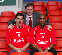 LIVERPOOL, ENGLAND - Monday, December 24, 2001: An early Christmas present for Reds fans as Liverpool unveil Czech international striker Milan Baros (left) and French striker Nicolas Anelka (right) with assistant manager Phil Thompson (centre) at Anfield. (Pic by David Rawcliffe/Propaganda)