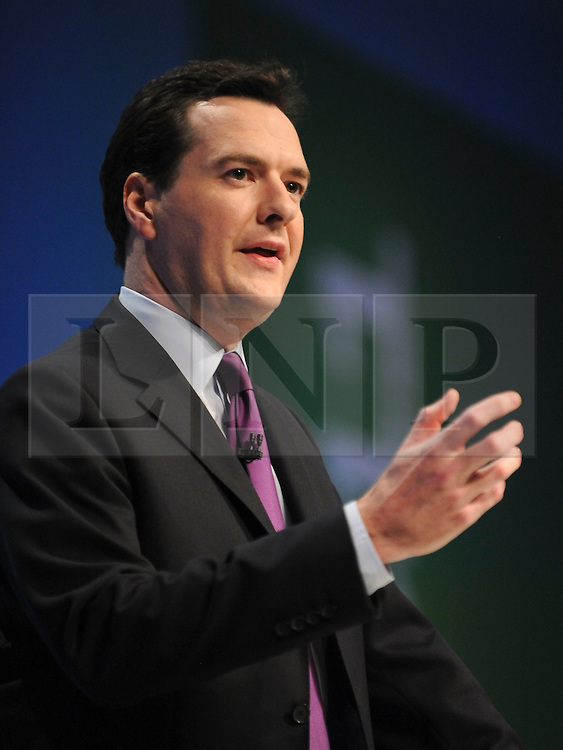 © Licensed to London News Pictures. 03/10/2011. MANCHESTER. UK. Chancellor George Osborne delivers his keynote speech on the economy to The Conservative Party Conference at Manchester Central today, October 3, 2011. Photo credit:  Stephen Simpson/LNP