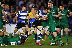 Francois Louw of Bath Rugby takes on the London Irish defence - Photo mandatory by-line: Patrick Khachfe/JMP - Mobile: 07966 386802 24/04/2015 - SPORT - RUGBY UNION - Bath - The Recreation Ground - Bath Rugby v London Irish - Aviva Premiership
