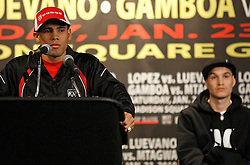 Jan 21, 2010; New York, NY; USA; Challenger Juan Manuel Lopez speaks at the press conference for his upcoming fight against WBO Champion Steven Luevano.  The two will meet on Saturday at the Theater at Madison Square Garden.