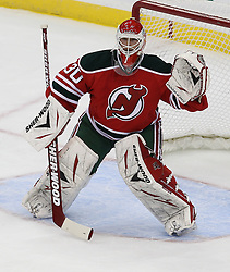Mar 18; Newark, NJ, USA; New Jersey Devils goalie Martin Brodeur (30) during the first period at the Prudential Center.