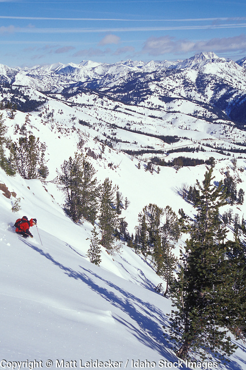 Idaho, near Sun Valley, winter.  Back country skier.