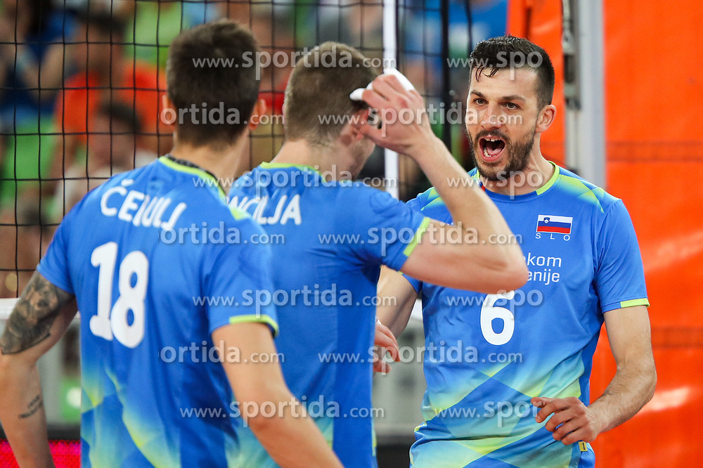 Mitja Gasparini of Slovenia celebrates during volleyball match between National teams of Slovenia and Belgium in 2nd Round of 2018 FIVB Volleyball Men's World Championship qualification, on May 28, 2017 in Arena Stozice, Ljubljana, Slovenia. Photo by Morgan Kristan / Sportida